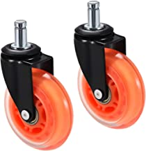uxcell Office Chair Casters Wheels 3 Inch PU Wheel Universal Standard 11mmx22mm Stem Swivel Caster Orange 2pcs
