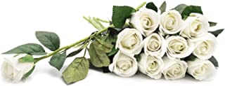 "Royal Imports Artificial Silk Roses Velvet 15"" Long Stemmed, 1 Dozen Flowers for Bouquets, Mother's Day, Weddings or Gift - Ivory"