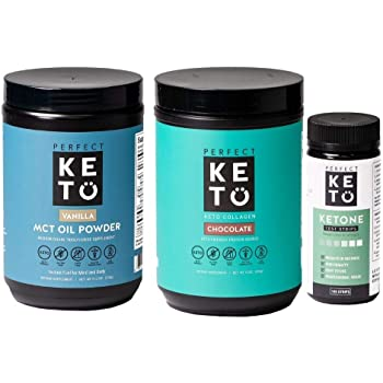 Perfect Keto Bundle - Collagen (Chocolate), Ketone Test Strips (100 Strips), MCT Oil C8 Powder (Vanilla) | Best to Burn Fat and Support Energy | 30 Day Supply