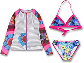 Girls Swimsuit Two-Piece Swimwear Long Sleeve Swimsuits Bathing Suit for Kids 6-14