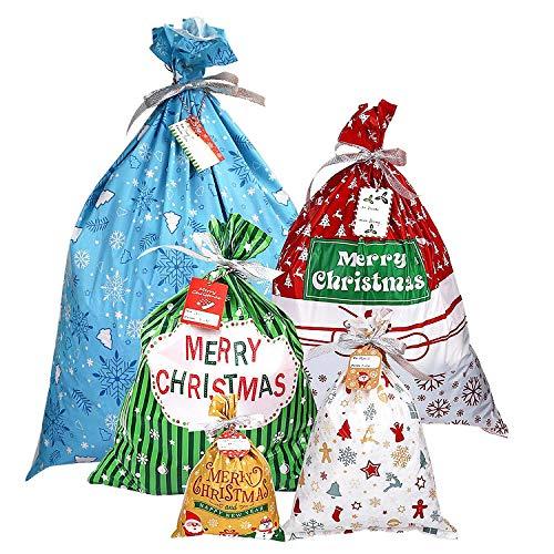 YQing 30 Piezas Bolsa, Saco Navidad Packaging Sacos Regalo Bolsa con Cordon Navidad Decoracion Regalos, 5 Estilos Surtidos