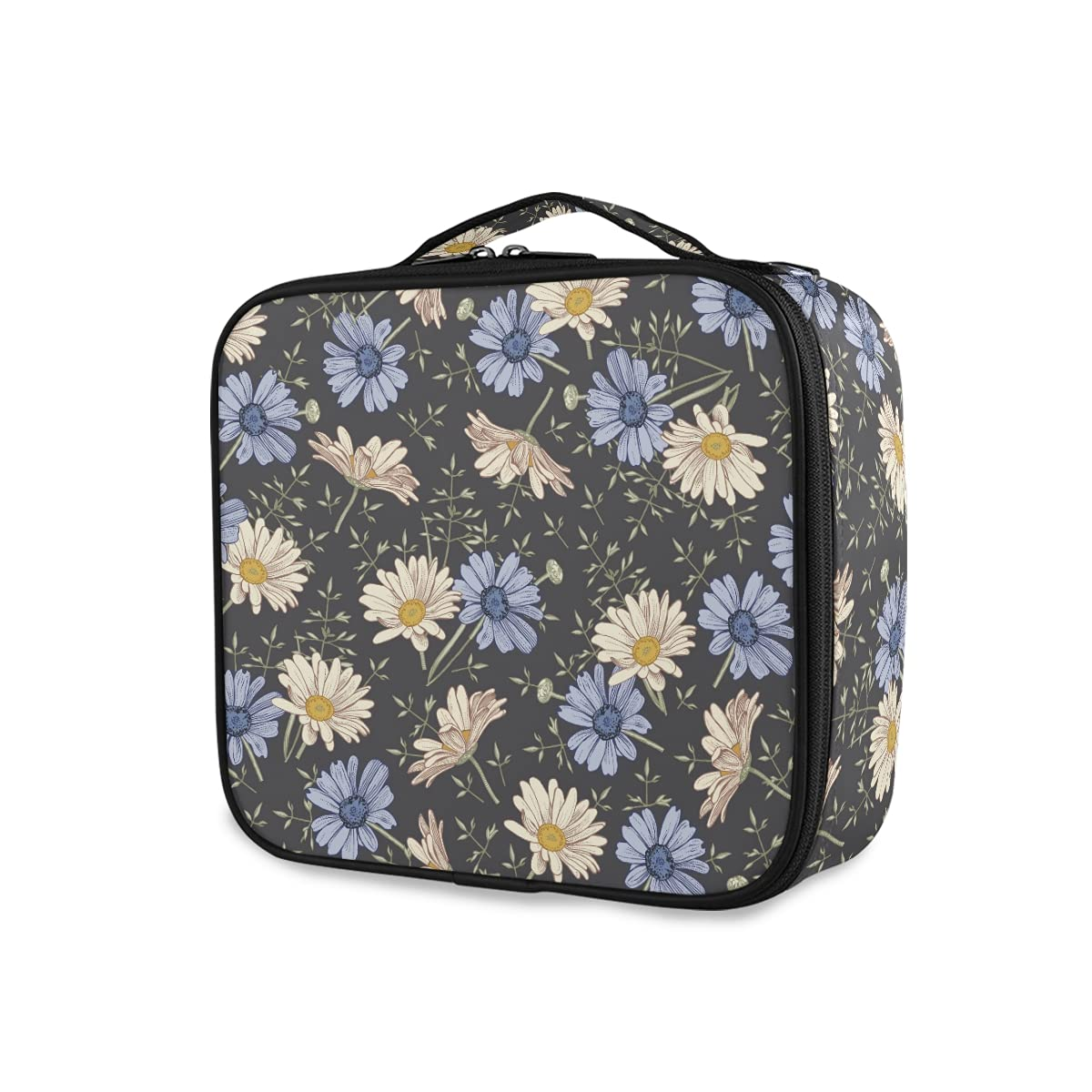 OTVEE Whtie A surprise price is realized Daisy Vintage Regular dealer Wildflowers Makeup Travel Cosmetic Bag