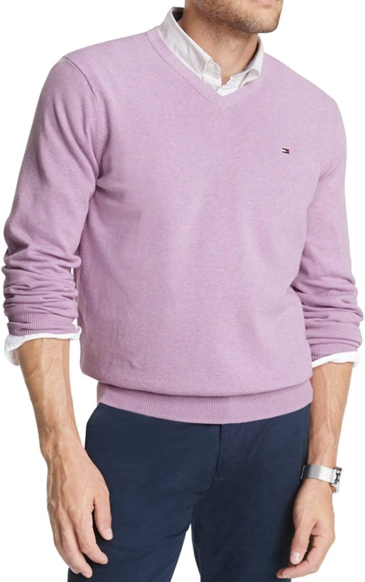 Tommy Hilfiger Men's Cotton Neck V 豪華な Sweater お得