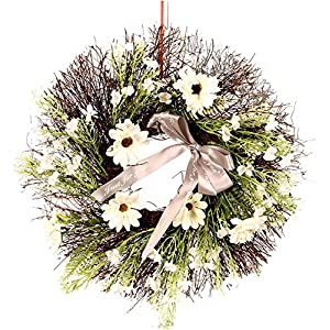 Sasike Artificial Garland Artificial Flower Vine Circle Wreath Cosmos Sun Woven Garland Spring and Summer Garland Used for Front Door and Window Home Decoration and Holiday Celebrations(Multicolor)
