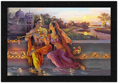 ARTAMORI Radhe Krishna Sitting Beside Lake Painting with Synthetic Frame