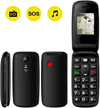 Peedeu Unlocked Flip Mobile Phone, SOS Big Button, 1.77-inch SIM-Free Quick Dial Key Easy-to-use Clamshell Cell Phone for Elderly Seniors