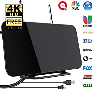 [2019 Newest] TV Antenna, Indoor Digital TV Aerial with Stand 50-80 Miles Range Freeview Amplified HD TV Aerial Support 4K 1080P HD/UHF/VHF/FM Freeview Channel for All Type Built-in Tuner Smart TV