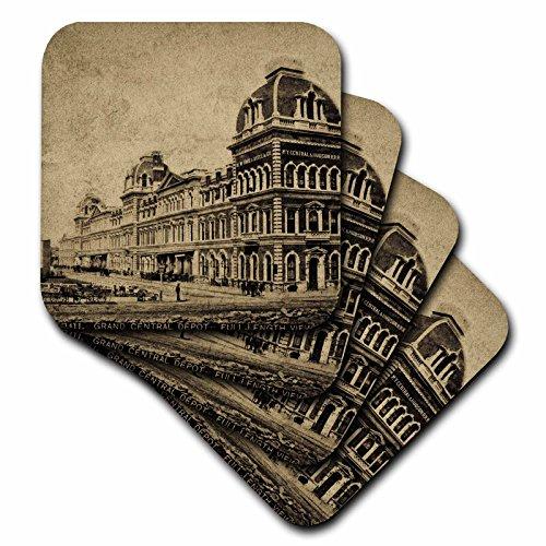 3dRose CST_16129_2 Grand Central Railroad Depot Vintage 1890 3 weiche Untersetzer, 8 Stück