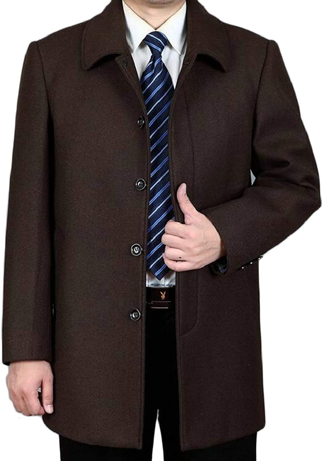 TD-CACA Men's Classical Bussiness Style Fashion Single Breasted Wool Coat Outwear