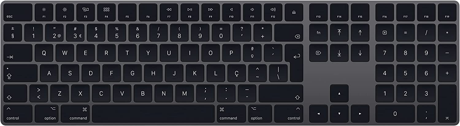 Apple Magic Keyboard with Numeric Keypad (Wireless, Rechargable) (Portuguese) - Space Gray