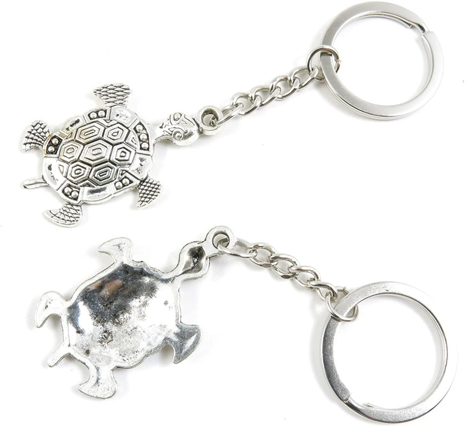 100 Pieces Keychain Keyring Door Car Key Chain Ring Tag Charms Bulk Supply Jewelry Making Clasp Findings M1ES7U Tortoise Turtle