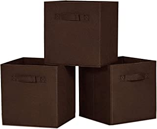 House of Quirk Foldable Cloth Storage Cube Basket Bins Organizer Containers Drawers (Set 3 Brown)