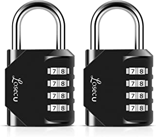 Combination Locks, Losecu 4 Digit Combination Padlock for School Gym Sports Locker, Fence, Toolbox, Case, Hasp Storage, 2 Packs, Black