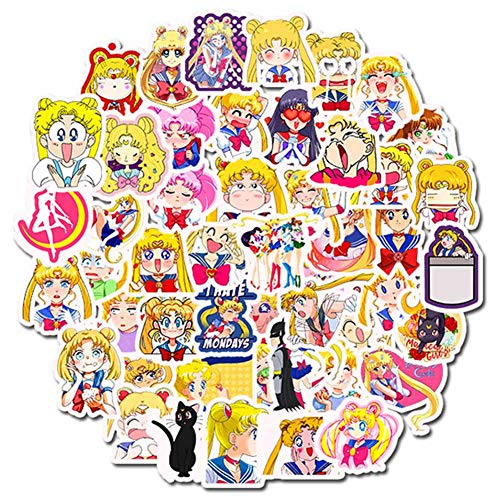 Yanqiu Happy Family 50 Anime Sailor Moon Leuke Stickers - Zeeman Maan Stickers Waterdichte Zonlicht Graffiti Sticker Trolley Case Koffer Gitaar Sticker