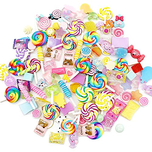 100 Pcs Charms Candy Sets, Mixed Asoorted Colors and Shapes Resin Charms Beads for DIY Scrapbooking Crafts, Phone Case Decor and Kid's Hair Band