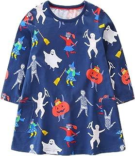 Girls Cotton Dresses Casual Long Sleeve Cartoon T-Shirt Dress