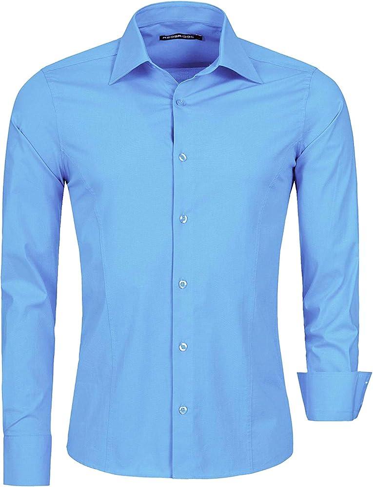redbridge, camicia per uomo, 97% cotone, 3% elastan, celeste r-2111d