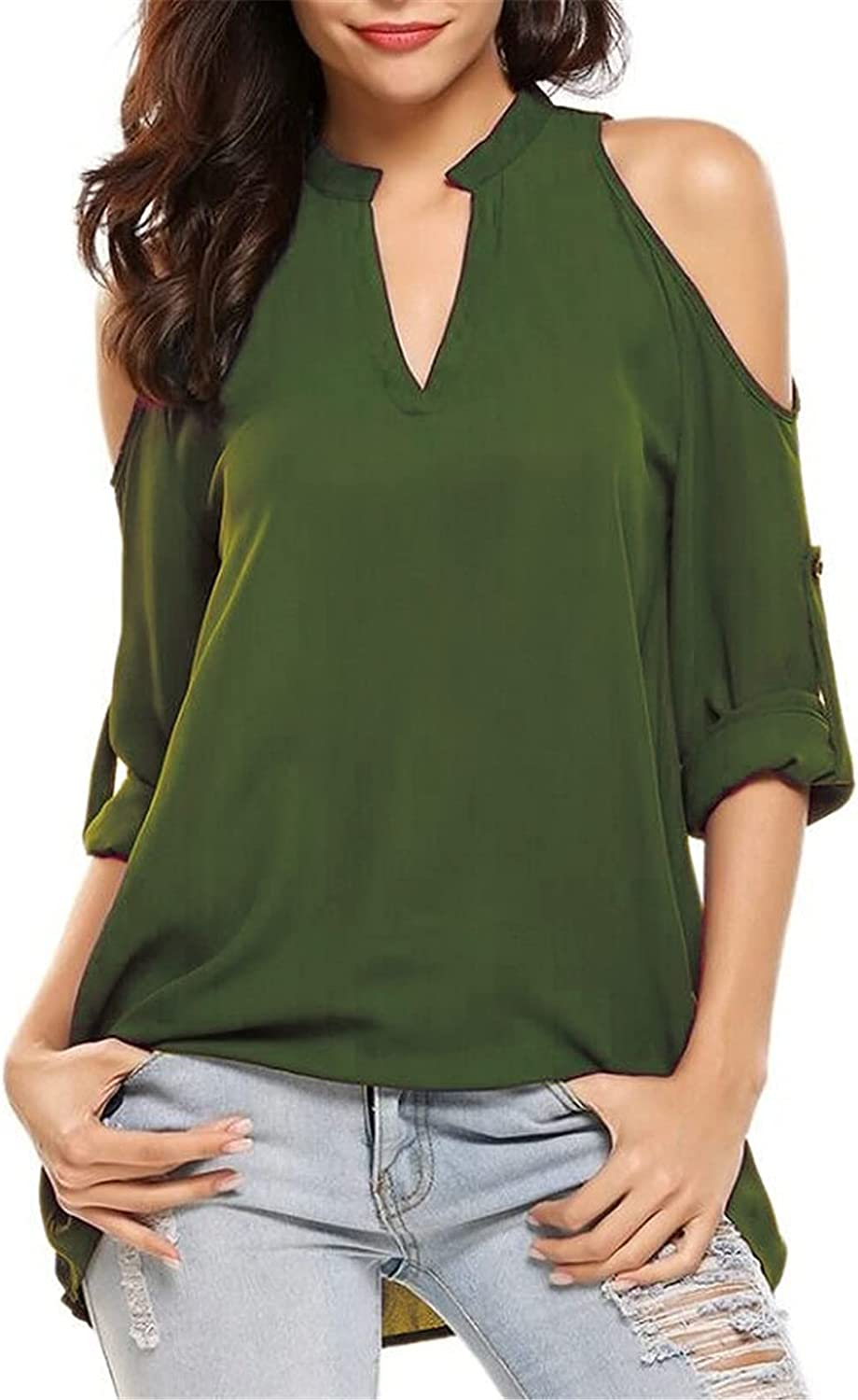 Andongnywell 55% OFF Women's V Neck Pullover Max 79% OFF Blouse Top Blou Sweatshirts