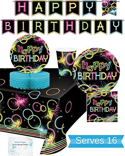 Glow Party Supplies – Teller, Becher, Servietten, Banner, Tischdecke und Tafelaufsatz für 16 Personen – Neon Partyzubehör und Dekorationen – perfekt für Geburtstagspartys und alle lustigen Affairs!