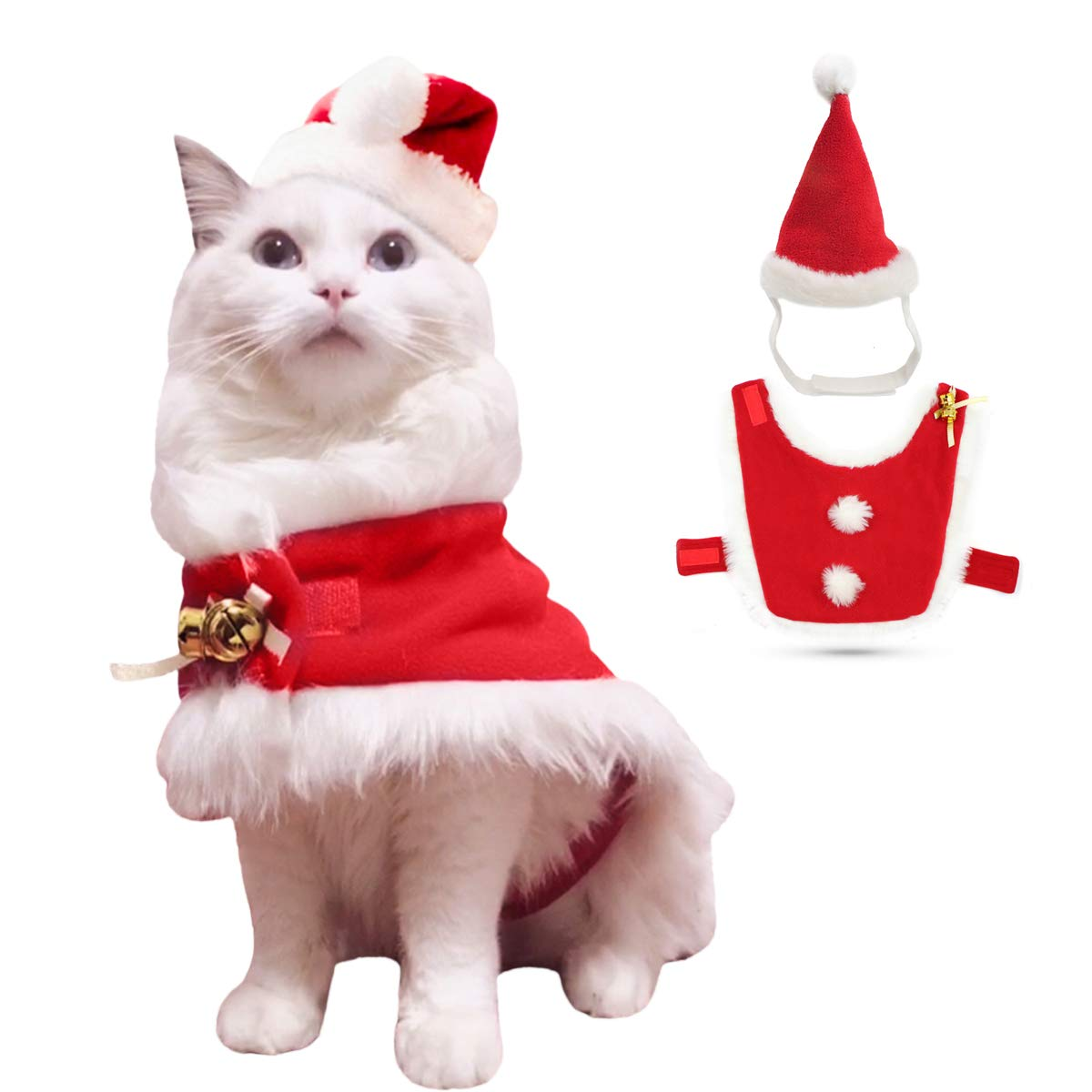 Amazon Com Enjoying Christmas Cat Costume Cat Santa Hat With Christmas Cloak Kitten Costumes Dogs Xmas Outfit With 2 Bells And Hairballs Red Pet Supplies