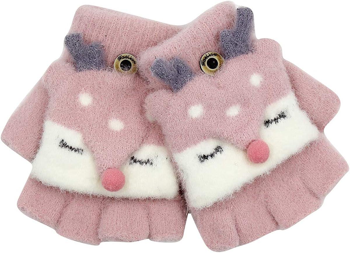 Kids Winter Gloves Mittens Warm Cute Reindeer Fingerless Convertible Flip Top Gloves Mitten for Toddler Girls Boys