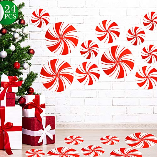 24 Pieces Peppermint Floor Decals Stickers for Christmas Decoration Candy Party Supply Red and White Large Decals for Floors, Windows, Counters and Walls (Bent Stripes A)