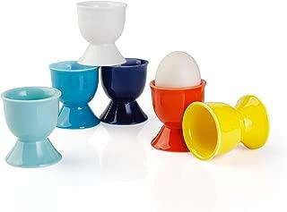 Sweese 805.002 Porcelain Egg Cups, Egg Holders for Hard Boiled Eggs - Set of 6, Hot Assorted Color