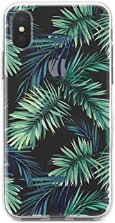 Obbii Clear Case for iPhone X (5.8inch) Obbii Unique Palm Tree Leaves Design Hard Shell Solid PC Back Soft TPU Bumper Protective Case for iPhone X