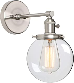 Phansthy Industrial Wall Sconce Brushed Nickel 1 Light Indoor Vanity Light with 5.9 Inches Round Canopy (Brushed)