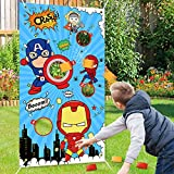 Toyze Superhero Bean Bag Toss Game, Superhero Themed Banner Throwing Games Fun Indoor Outdoor Games for Kids, Superhero Party Supplies for Birthday Carnival Games Christmas Children Day Gift