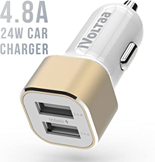 iVoltaa 4.8 A - 24W Dual Port Metal Car Charger with Micro USB Cable – White Gold
