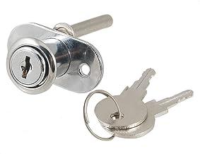 19mm Diametro de cabeza de cilindro Tono plateado Cerradura de embolo de cajon de metal con 2 llaves Cerradura de embolo SODIAL R