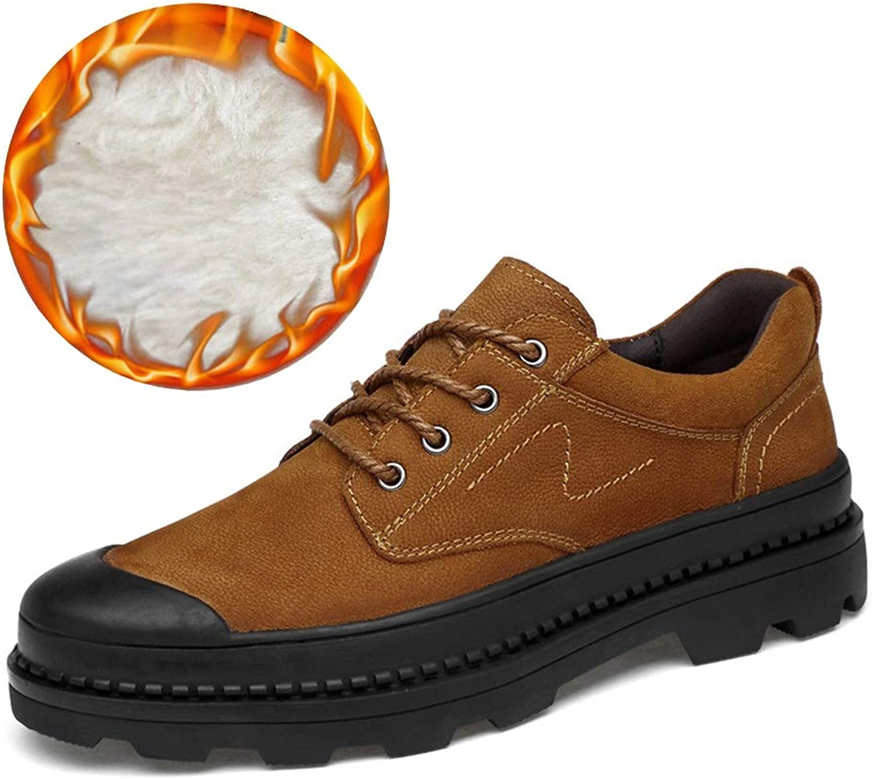 MUMUWU Men's Fashion Oxfords Casual Round Toe Wear-resistant Belt Work shoes Winter