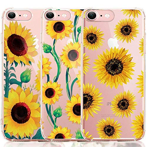 iPhone 6 6S Case, iPhone 6 6S Case with Flowers, [3-Pack] CarterLily Watercolor Flowers Floral Pattern Soft Clear Flexible TPU Back Case for iPhone 6 6S 4.7'' (Sunflowers)