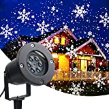 KOOT Christmas Snowflake Projector Lights Romantic White Rotating Snowflakes and Snowflake Dots (2 in1) for Outdoor Indoor Party, Thanksgiving, Christmas and Valentine's Day (2020 New)
