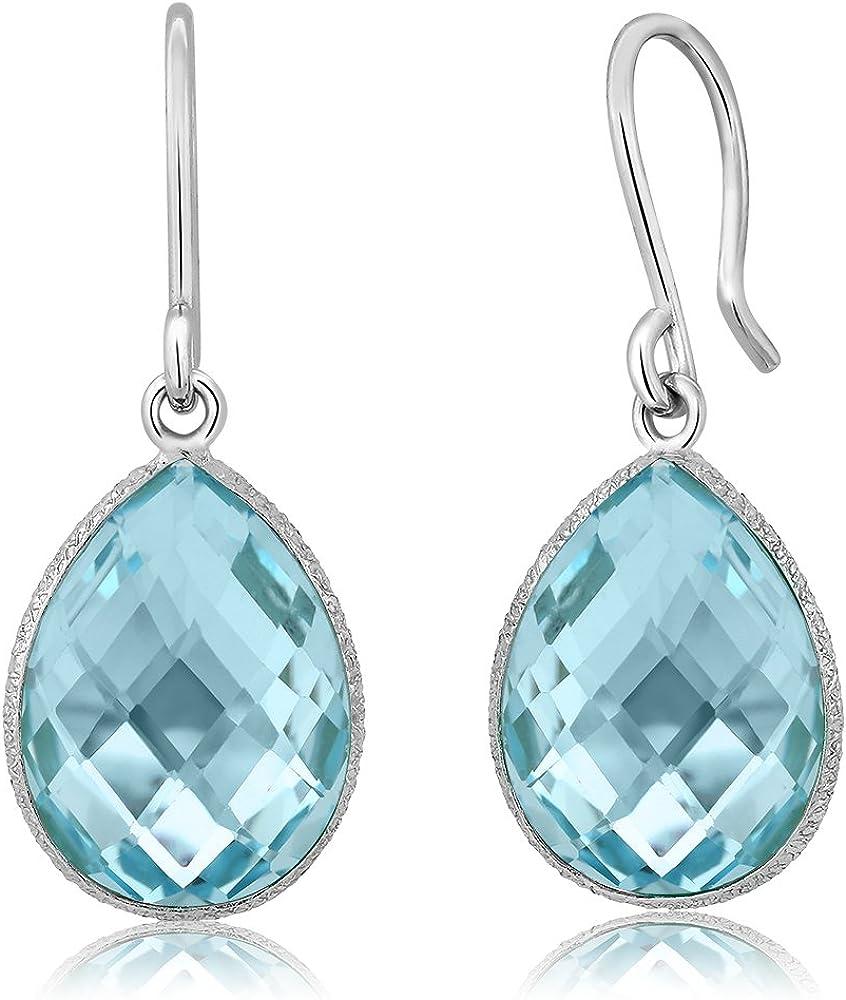 Gem Stone King 925 Sterling Silver Blue Topaz Dangle Earrings Fo