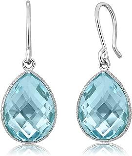 Sterling Silver Blue Topaz Dangle Earrings 18.00 cttw Gemstone Birthstone Pear Shape Teardrop 16X12MM