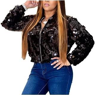 neveraway Womens Christmas Day Zipper Long-Sleeve Sequins Fashion Outwear Coat