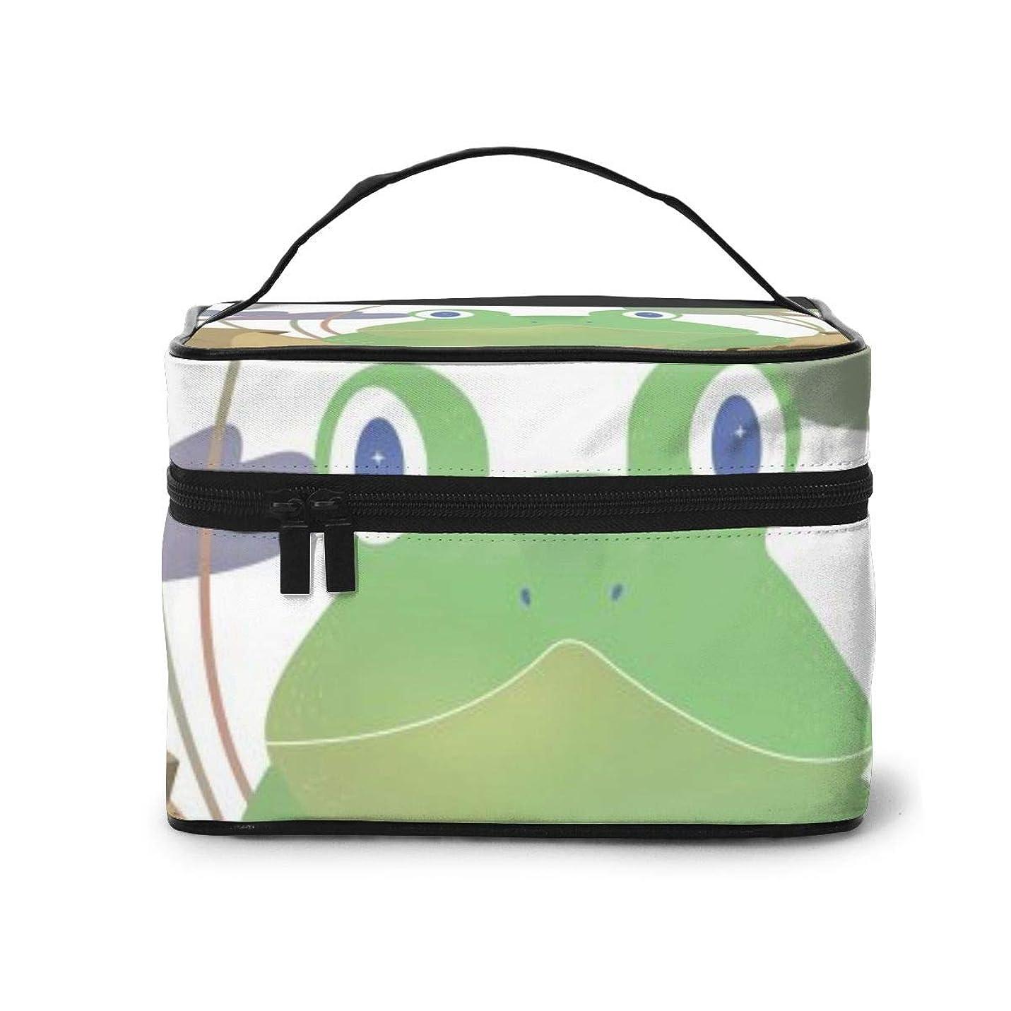 イベント少ない走るメイクポーチ 化粧ポーチ コスメバッグ バニティケース トラベルポーチ カエル 蓮の葉 池 蛙 雑貨 小物入れ 出張用 超軽量 機能的 大容量 収納ボックス