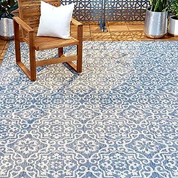 HOME Dynamix Nicole Miller Patio Country Danica Indoor/Outdoor Area Rug 5 2 x7 2  Blue/Gray 7 Feet