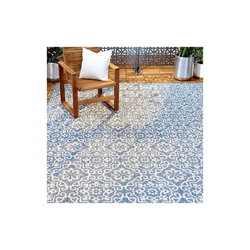 "silk flower arrangements home dynamix nicole miller patio country danica area rug, 7'9""x10'2"", blue/gray, 10 feet"