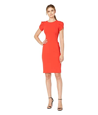 Donna Morgan Tulip Sleeve Crew Neck Sheath Dress (Scarlet Red) Women
