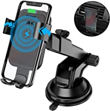 AHK Wireless Charger Car Mount, Gravity Windshield Dashboard Air Vent Phone Holder for iPhone Xs/Max/X/XR/8/8 Plus Samsung Galaxy Note 9/ S9/ S9+/ S8/S8+/S7/S6 Edge and Other Qi Enabled Phones ,Black