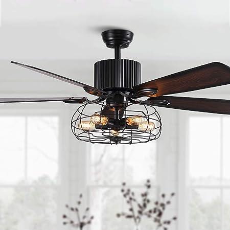 SILJOY Ventilateur de plafond inversé de 52 pouces avec lampes et ventilateur de chandelier à 5 pales en bois, à cage noire industrielle, pour la salle à manger de la chambre