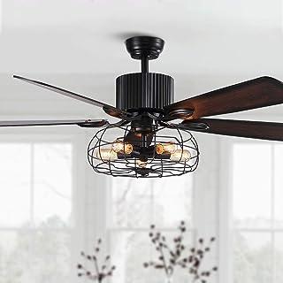 SILJOY Ventilateur de plafond inversé de 52 pouces avec lampes et ventilateur de chandelier à 5 pales en bois, à cage noir...