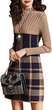 BiilyLi Donna Vintage Caldo Dolcevita Maniche Lunghe Plaid Abito in Maglia Maglione Pullover Abito Midi Vestiti Donna Manica Lunga