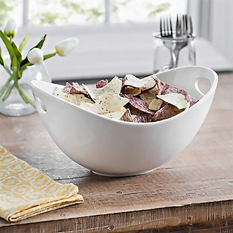 Large Ceramic Serving Bowl, For Snacks, Chips and Dip, Salad and Pasta, White Salad Bowl with Cut-Out Handles, 12 inch
