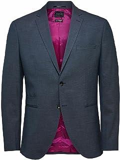 Selected Homme Men's SLHSLIM-MAZELOGAN STRUC BLZ B NOOS Blazer, Medium Blue Melange, 48R