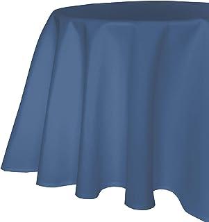 TextilDepot24 Nappe de Table de Jardin Aspect Lin Effet Lotus Tissu Anti-Taches Infroissable (220 cm Rond, Bleu)