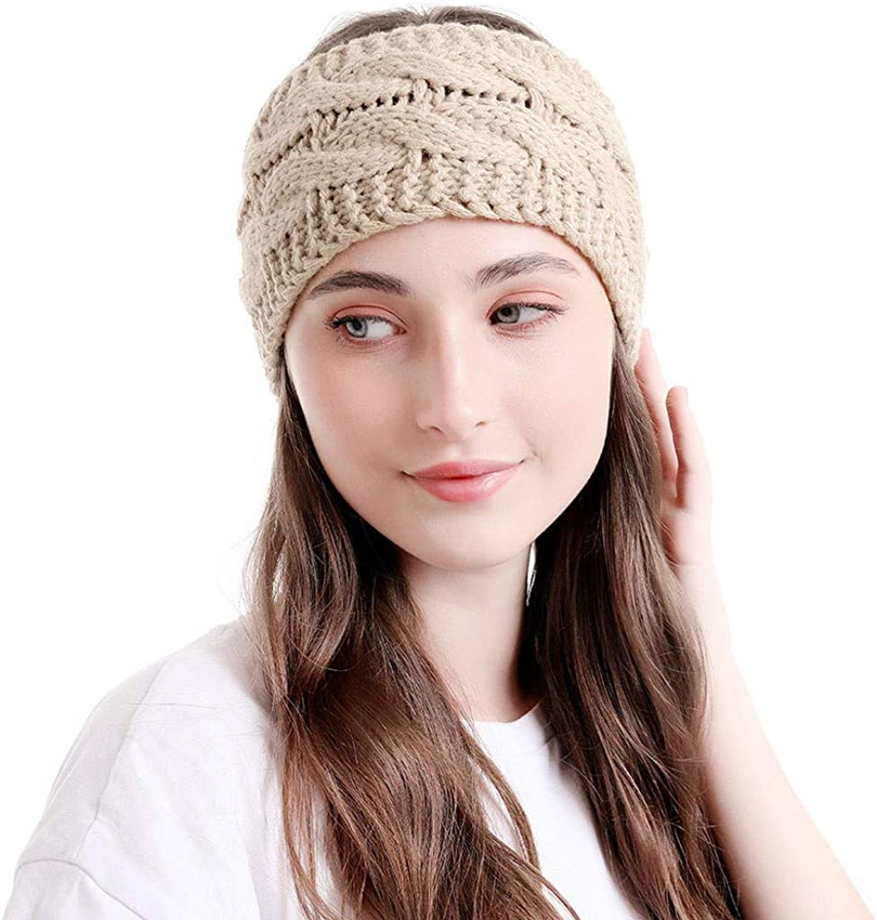 Sayhi Womens Knitted Ear Warmers Headbands Winter Warm Fuzzy Cable Knit Head Wrap Gifts Hair Accessories